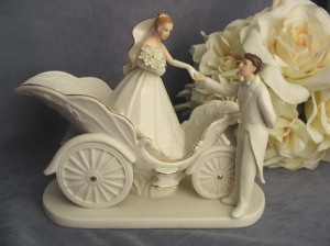 Gorgeous wedding coach cake topper